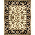 Hand-tufted Genus Beige/ Black Wool Rug (8' x 11')