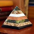 Handcrafted Multi-gemstone 'Be Positive' Pyramid Sculpture (Peru)