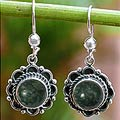 Handcrafted Sterling Silver 'Antigua Sun' Jade Earrings (Guatemala)