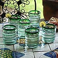 Set of 6 Blown Glass &#39;Emerald Spiral&#39; Tumblers (Mexico)