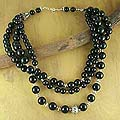 Sterling Silver 'Midnight River' Onyx Strand Necklace (India)