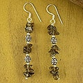 Sterling Silver 'Garland' Smoky Quartz Drop Earrings (India)