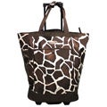 Olympia 20-inch Giraffe-print Top-loading Rolling Shopper Tote