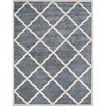 Alliyah Handmade Bluish-Grey New Zealand Blend Wool Rug (10&#39; x 12&#39;)