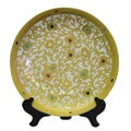 White and Gold Scrolls Porcelain Plate with Stand