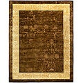 Safavieh Handmade Majestic Chocolate/ Light Gold N. Z. Wool Rug (6' x 9')