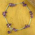 Sterling Silver 'Lilac Wreath' Amethyst Anklet (India)