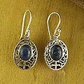 Sterling Silver &#39;Heirloom Lace&#39; Lapis Lazuli Dangle Earrings (India)