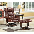 New Creations SoHo Bordeaux Finish European Chair and Ottoman