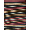 Hand-tufted Caulfield Black Stripes Rug (5' x 7'6)