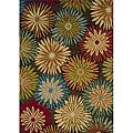 Brown/ Blue Floral Transitional Area Rug (3'10 x 5'5)
