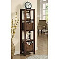 Oak Veneer Storage Shelf Unit with Storage Baskets