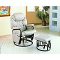 Taupe Swivel Rocker Recliner with Ottoman