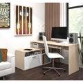 Maple-wood-finish Adjustable Bestar Modula Compact L-Workstation