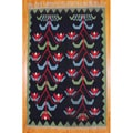 Indo Hand-Woven Kilim Black and Green Wool Rug (7'2 x 10'10)