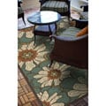 Blue/Brown Floral Outdoor Area Rug (6'7