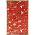 Hand-tufted Diana Red Floral Wool Rug (8' x 11')