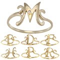 La Preciosa Gold over Sterling Silver Cubic Zirconia Initial Ring