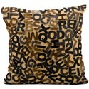 Beige Cowhide Lettered 20 x 20-inch Decorative Pillow
