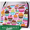 Two Trees Designs Purple Delectable Cupcakes Messenger Bag