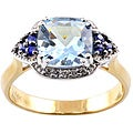 Michael Valitutti 14k Gold Santa Maria Aquamarine, Sapphire and Diamond Ring
