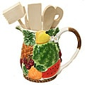 Tropical Fruit Collection Water Pitcher and 7-piece Kitchen Tool Set