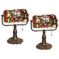 Warehouse of Tiffany-style Banker Blue Eyes Desk Lamps (Set of 2)