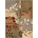 Infinity Collection Blue Floral Area Rug (5'3 x 7'3)