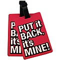 Naftali Pink 'Put It Back It's Mine' Rubber Luggage ID Tag (set of 2)