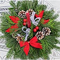 Fresh Balsam Wreath One Candle Centerpiece