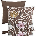 Pillow Perfect Brown/White Contemporary Square Throw Pillow