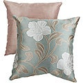 Pillow Perfect Green/Tan Floral Vine Square Throw Pillow