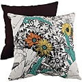 Pillow Perfect Orange/Green Floral Sketches Throw Pillow