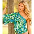 Rachel Lym Women's Crista Abstract Green One-shoulder Kimono Sleeve Blouse