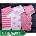 Pink-and-white Polyester Headbandz Three-piece Baby Leg Warmer Set