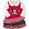 B.T. Kids Girl's Fuchsia Plaid Cuddly Bear' Jumper Dress