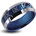 Men&#39;s Tungsten Carbide Blue Center Roman Numeral Design Ring (8 mm)