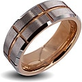 Men&#39;s Tungsten Carbide Brushed Center Rose Gold Cross Grooved Ring (8 mm)
