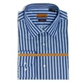Enzo Tovare Men&#39;s Blue Herringbone Stripe Cotton Dress Shirt