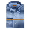 Enzo Tovare Men's Blue Herringbone Stripe Cotton Dress Shirt