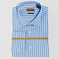 Enzo Tovare Men&#39;s Blue Stripe Cotton French-Cuff Dress Shirt