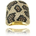 14k Gold Overlay Brass Cubic Zirconia Leopard Print Wide Band Ring