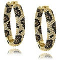 Dolce Giavonna 14k Gold Overlay Cubic Zirconia Leopard Print Hoop Earrings