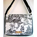 Handmade Medium Black Day of the Dead Messenger Bag