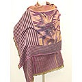Selection Privee Paris 'LAURA Wine Burgundy' Striped Wool Shawl