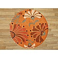Hand-tufted Rust New Zealand Wool Blend Rug (6&#39; Diameter)