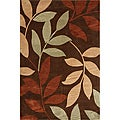 Hand-Tufted Brown Leaf Rug (3'6 x 5'6)