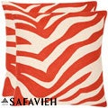Stripes 18-inch Embroidered Orange Decorative Pillows (Set of 2)