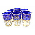 Hand-painted Moroccan Mek-blue-trim Tea Glasses (Set of Six)