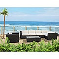 Corona Outdoor Patio Espresso and White 7-Piece Sectional Sofa Set